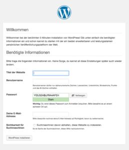 WordPress Installation Anmeldename und Passwort vergeben
